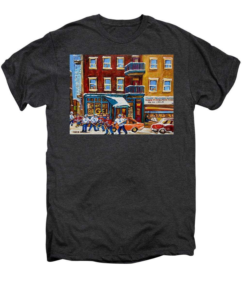 Montreal Men's Premium T-Shirt featuring the painting Saint Viateur Bagel With Hockey by Carole Spandau