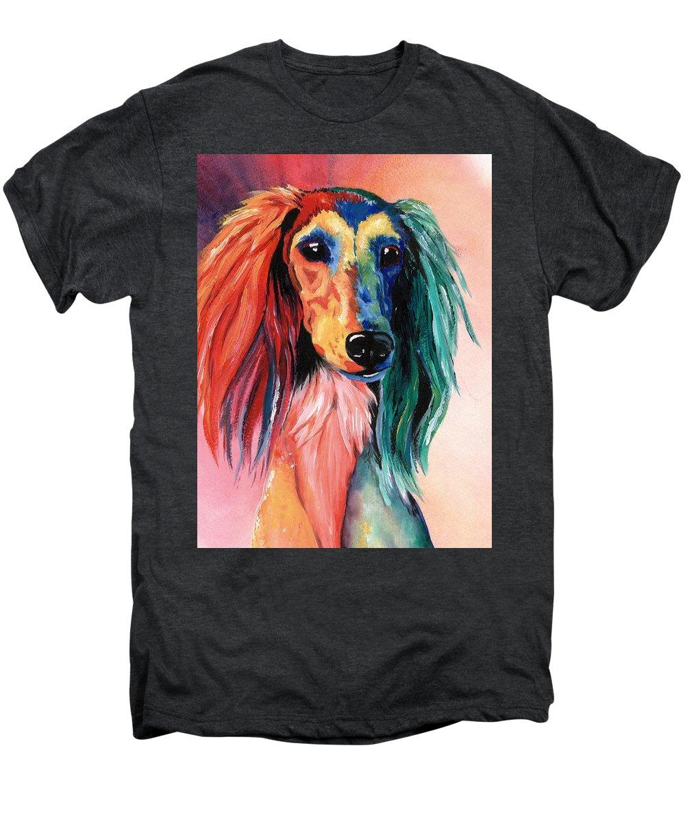 Saluki Men's Premium T-Shirt featuring the painting Saluki Sunset by Kathleen Sepulveda