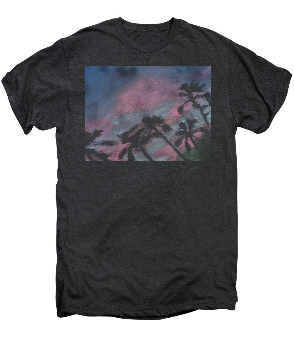 Contemporary Tree Landscapes Men's Premium T-Shirt featuring the drawing San Diego Palms by Leah Tomaino
