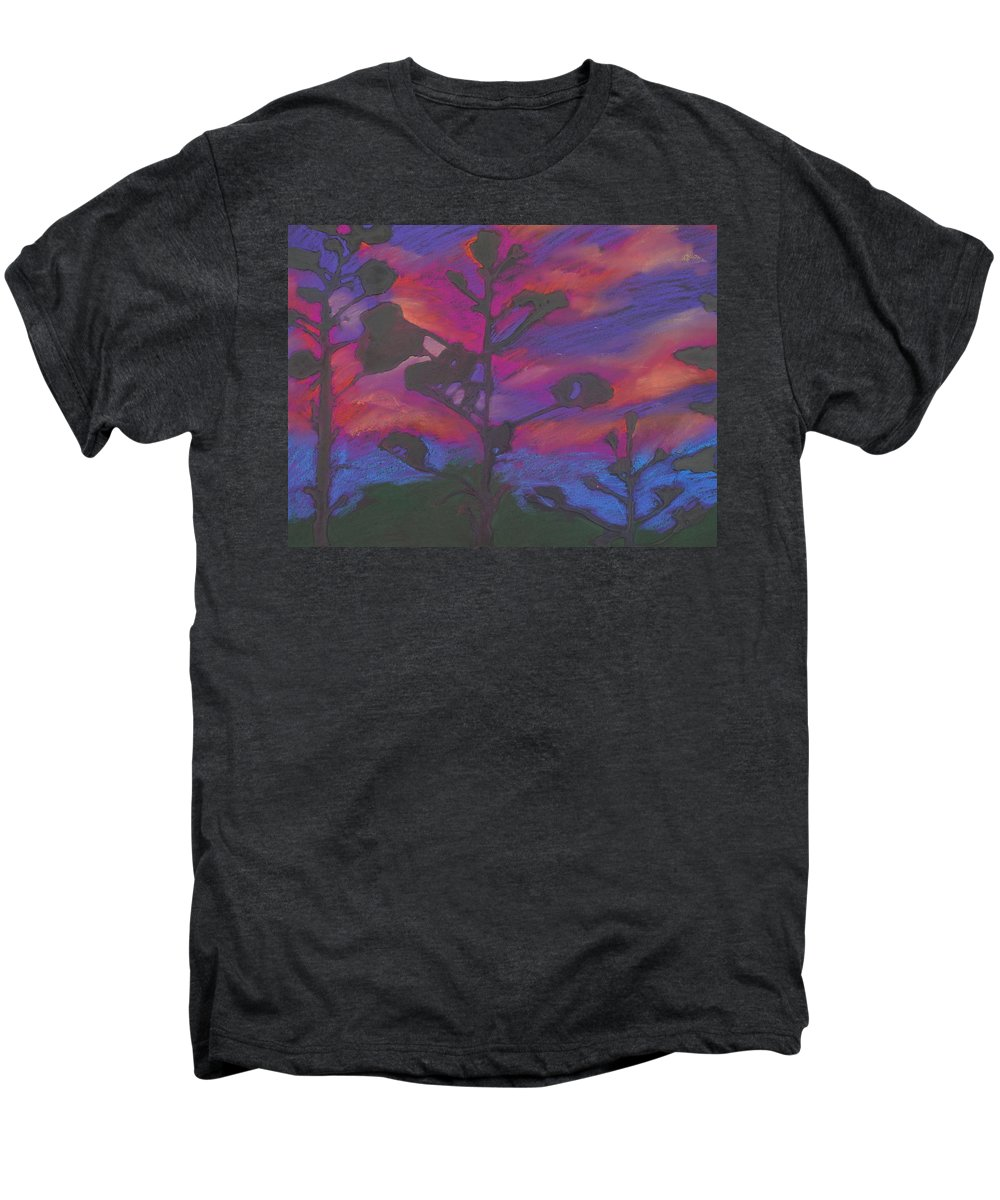 Contemporary Tree Landscape Men's Premium T-Shirt featuring the mixed media San Diego Sunset by Leah Tomaino