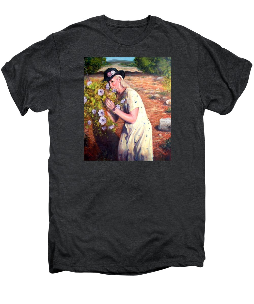 Realism Men's Premium T-Shirt featuring the painting Santa Fe Garden 2  by Donelli DiMaria