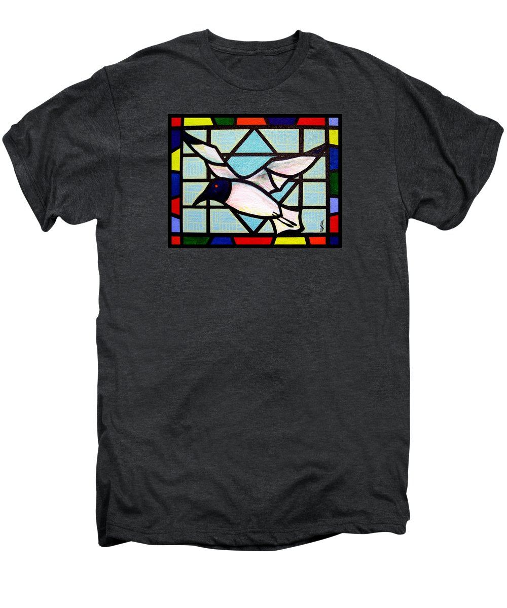 Seagull Men's Premium T-Shirt featuring the painting Seagull Serenade by Jim Harris
