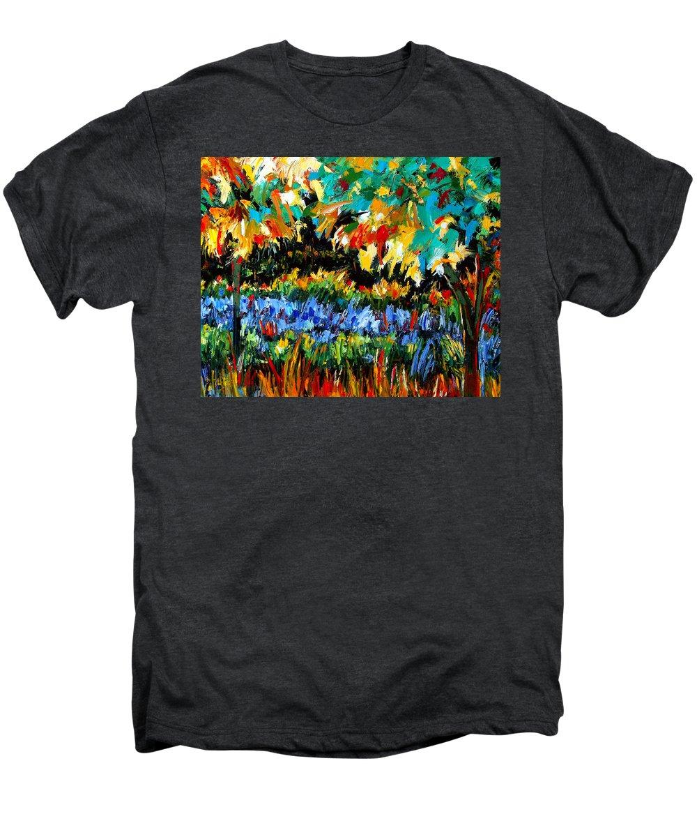 Landscape Men's Premium T-Shirt featuring the painting Secret Garden by Debra Hurd