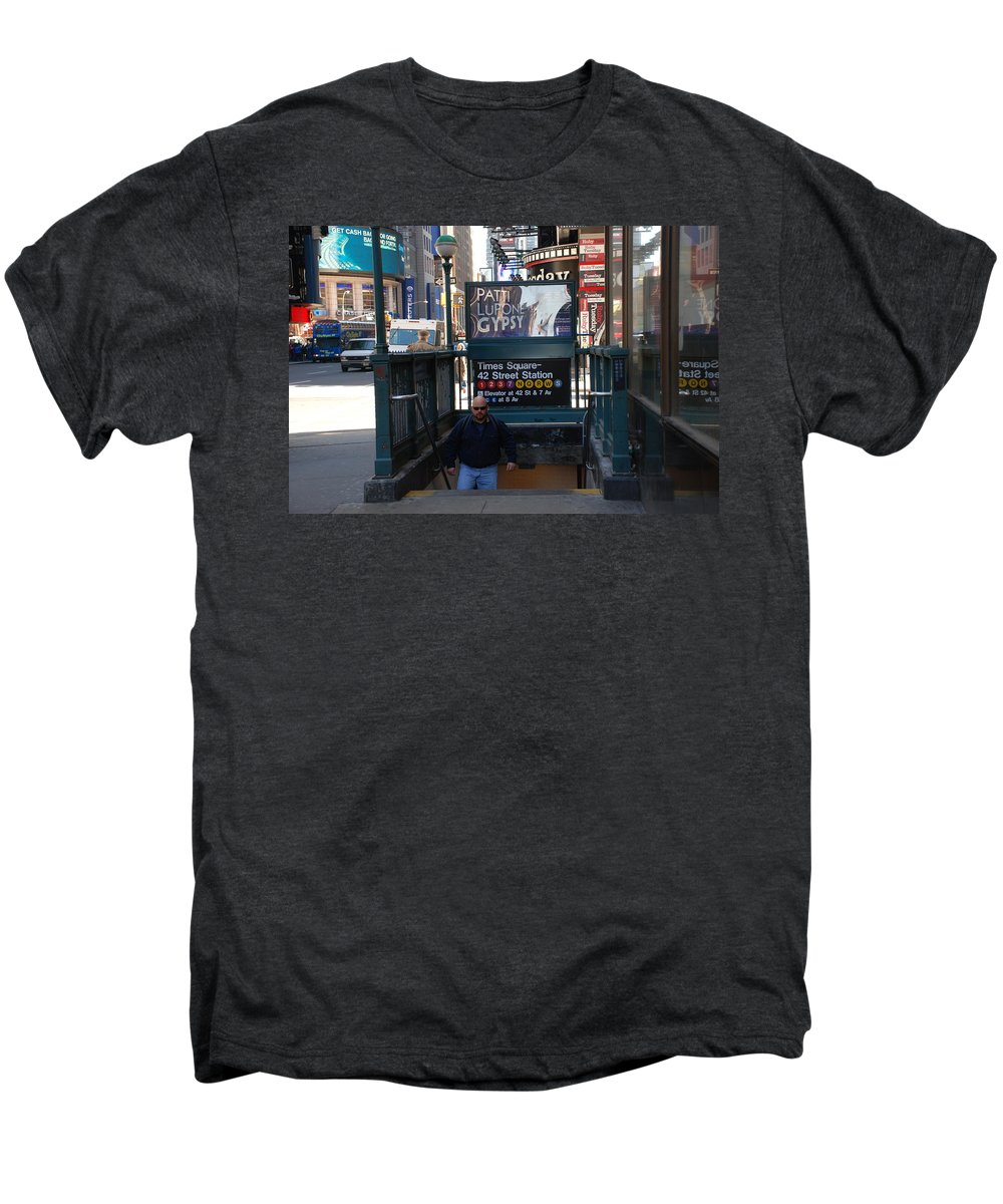 Subay Men's Premium T-Shirt featuring the photograph Self At Subway Stairs by Rob Hans