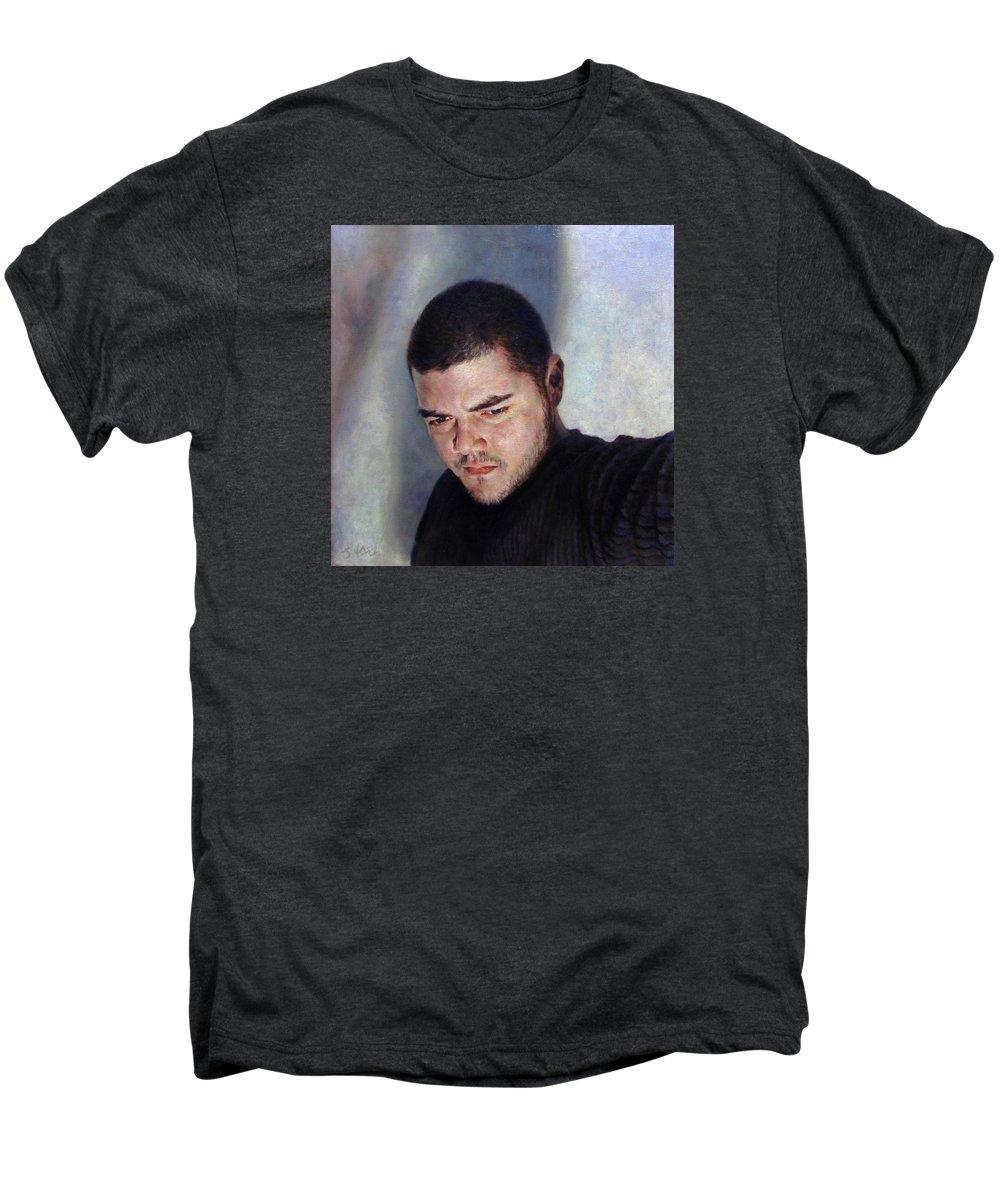 Self Men's Premium T-Shirt featuring the painting Self Portrait W Shadows by Joe Velez