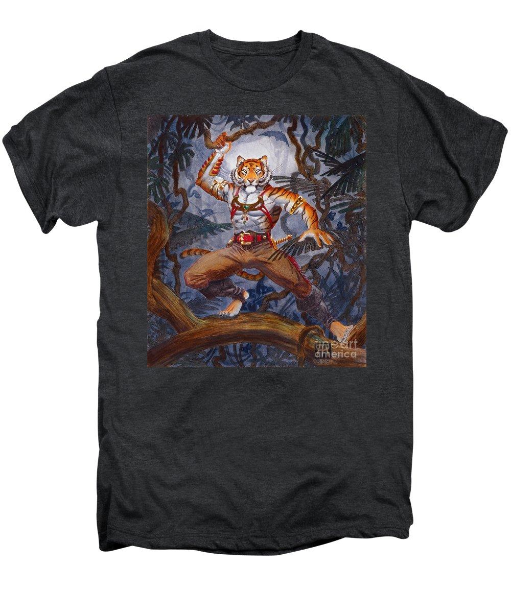 Cat Men's Premium T-Shirt featuring the painting Sense Dark by Melissa A Benson