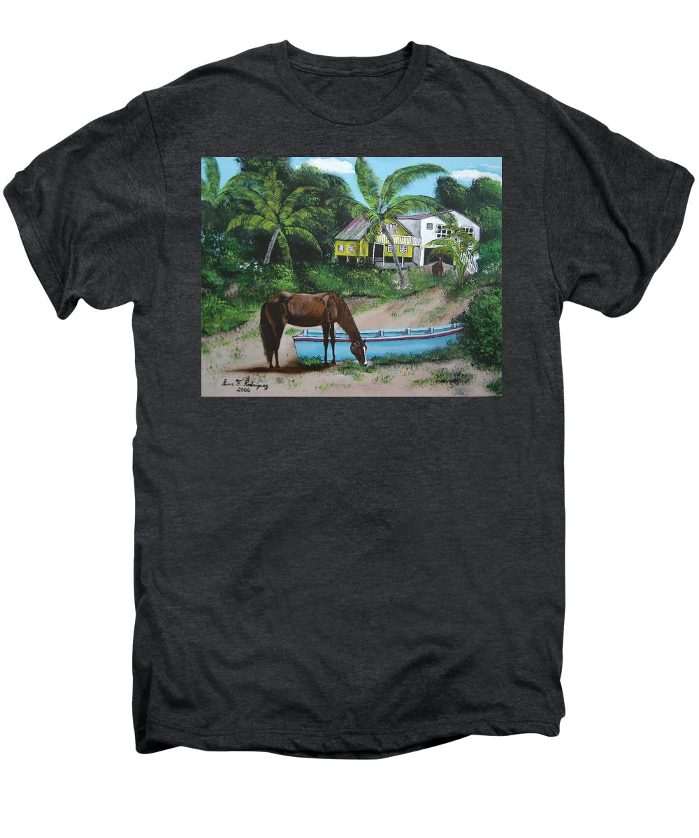 Aguadilla Men's Premium T-Shirt featuring the painting Serenity by Luis F Rodriguez
