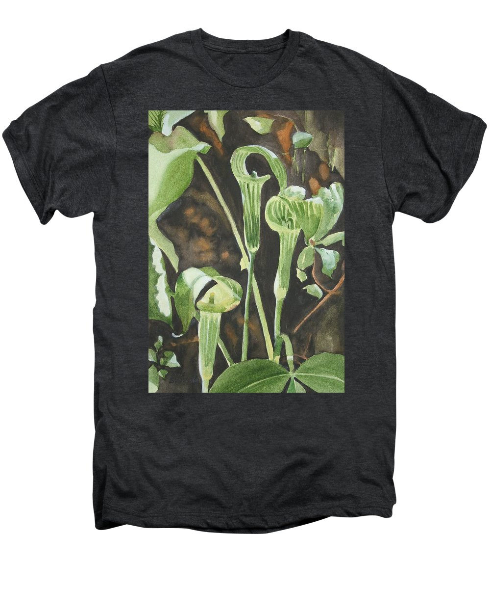 Woods Men's Premium T-Shirt featuring the painting Sermon In The Woods by Jean Blackmer