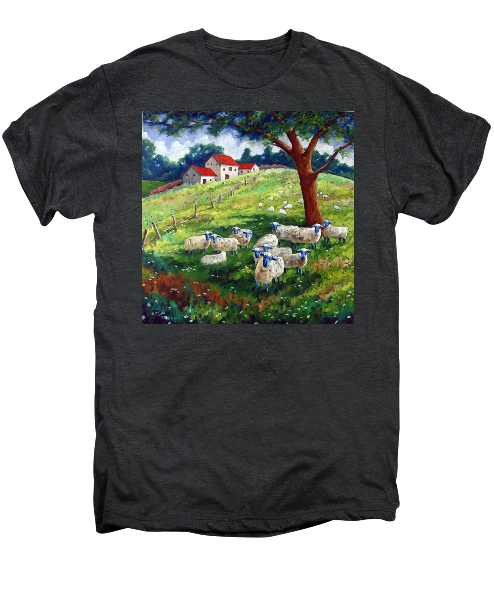 Sheep Men's Premium T-Shirt featuring the painting Sheeps In A Field by Richard T Pranke