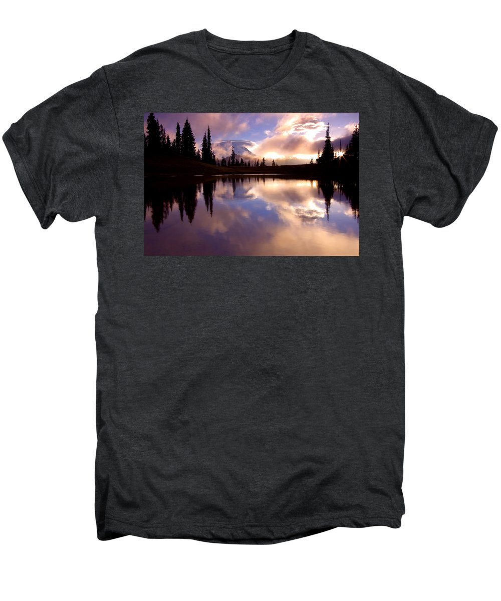 Rainier Men's Premium T-Shirt featuring the photograph Shrouded In Clouds by Mike Dawson