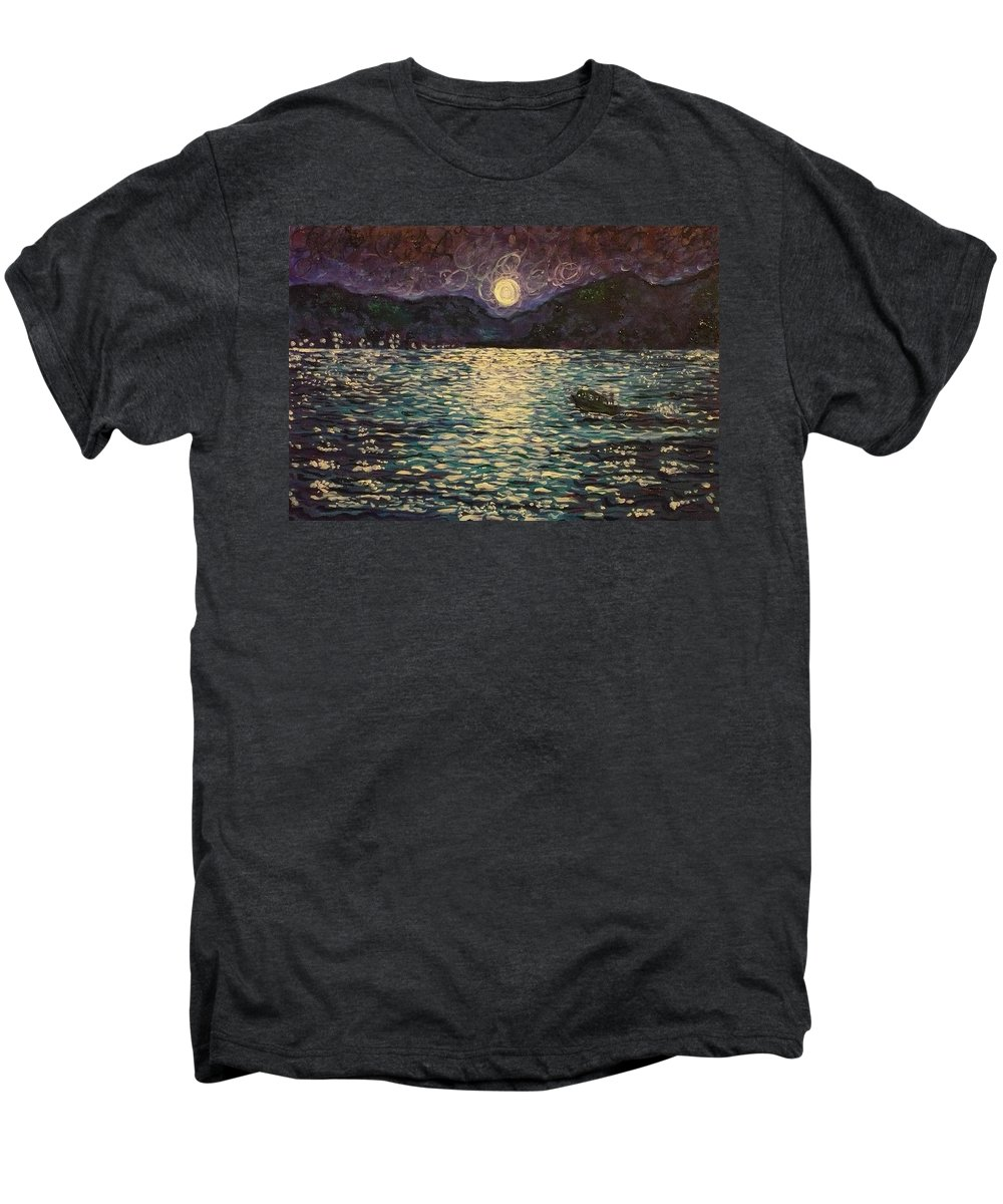 Landscape Men's Premium T-Shirt featuring the painting Silver Sea by Ericka Herazo
