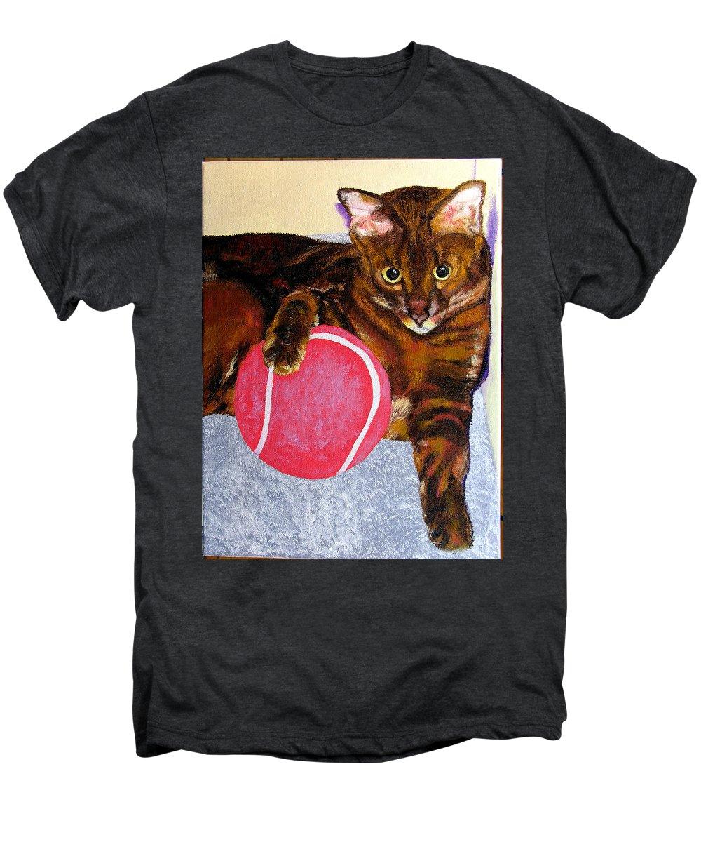 Cat Men's Premium T-Shirt featuring the painting Simon by Stan Hamilton