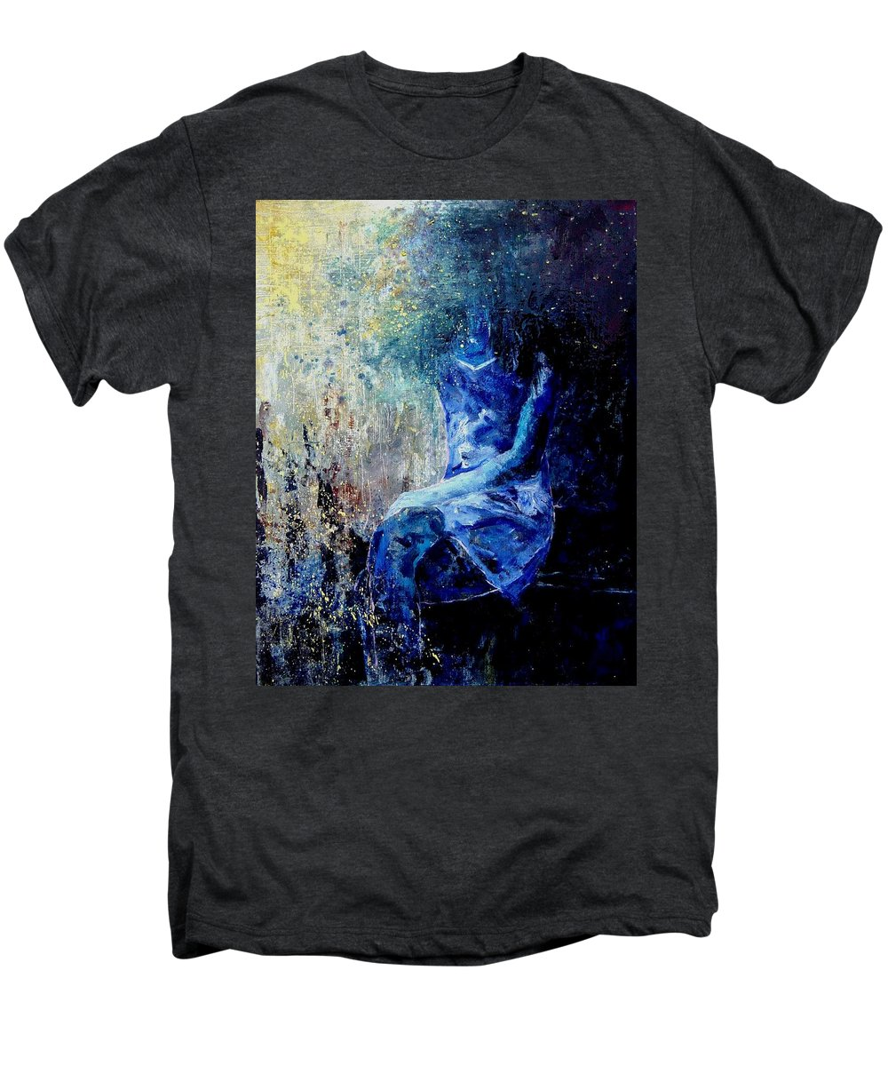 Woman Girl Fashion Men's Premium T-Shirt featuring the painting Sitting Young Girl by Pol Ledent