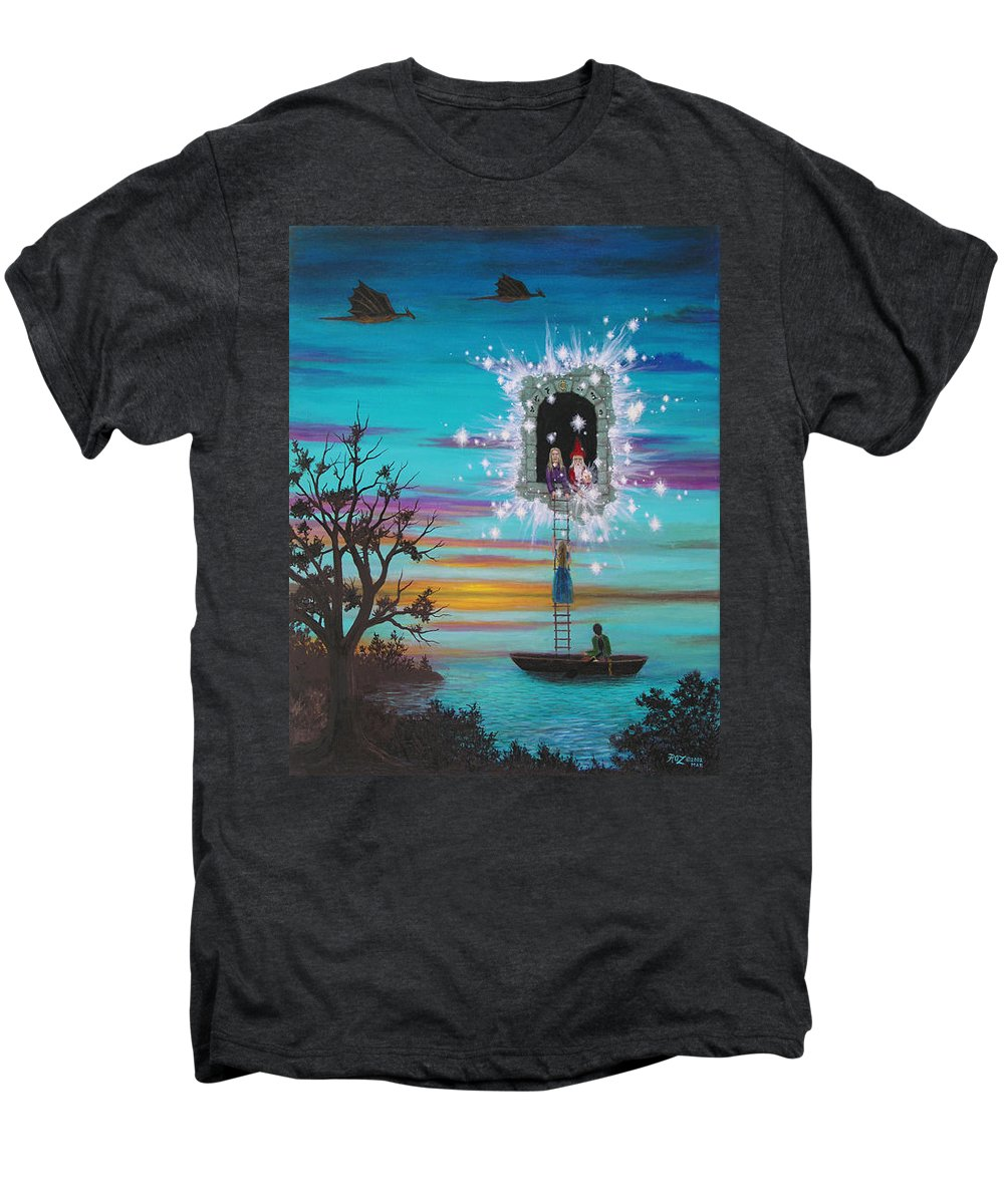 Fantasy Men's Premium T-Shirt featuring the painting Sky Window by Roz Eve