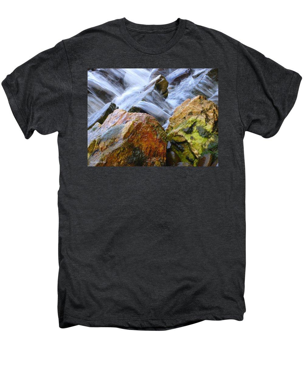 Rocks Men's Premium T-Shirt featuring the photograph Slippery When Wet by Shelley Jones