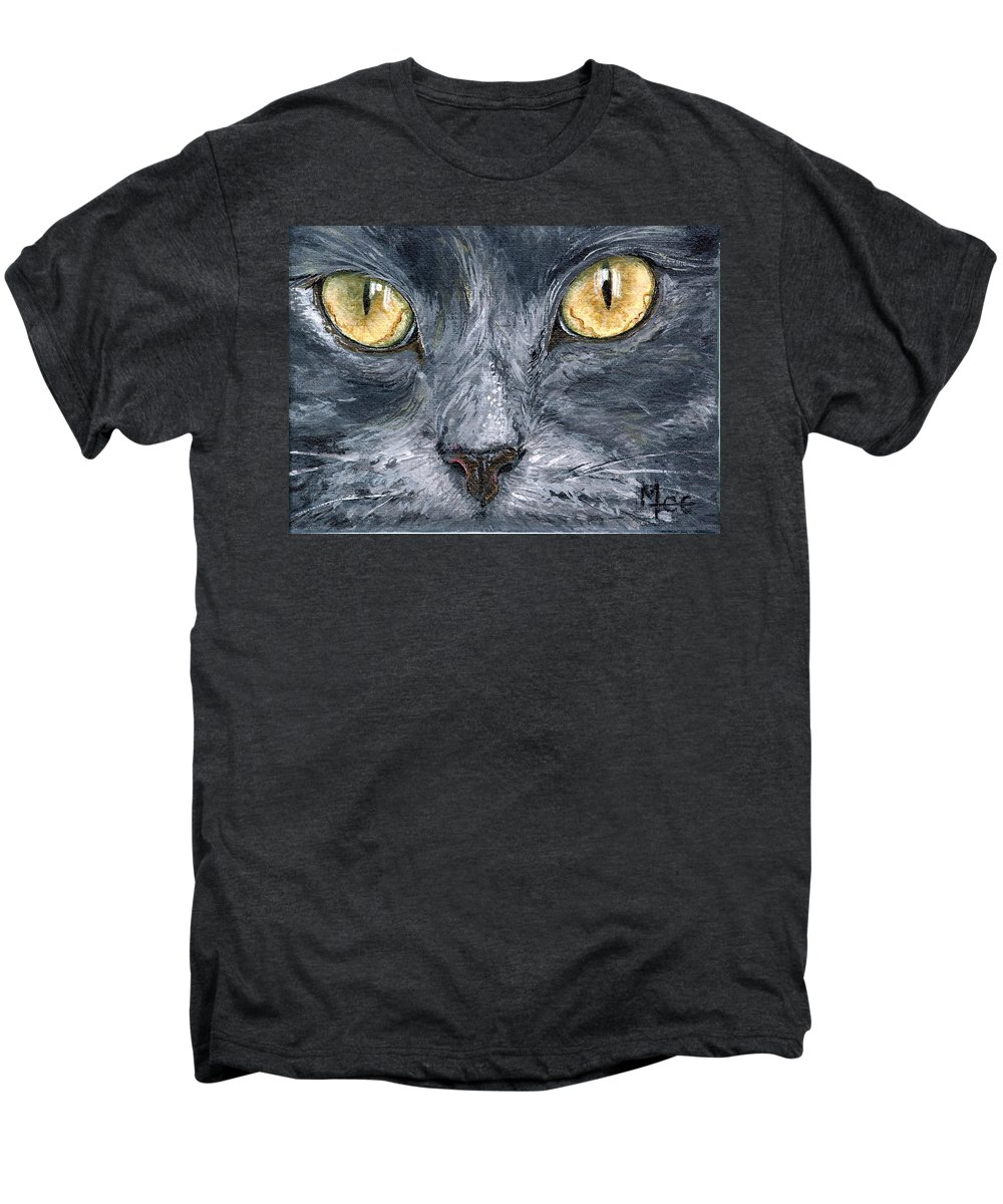 Charity Men's Premium T-Shirt featuring the painting Smokey by Mary-Lee Sanders