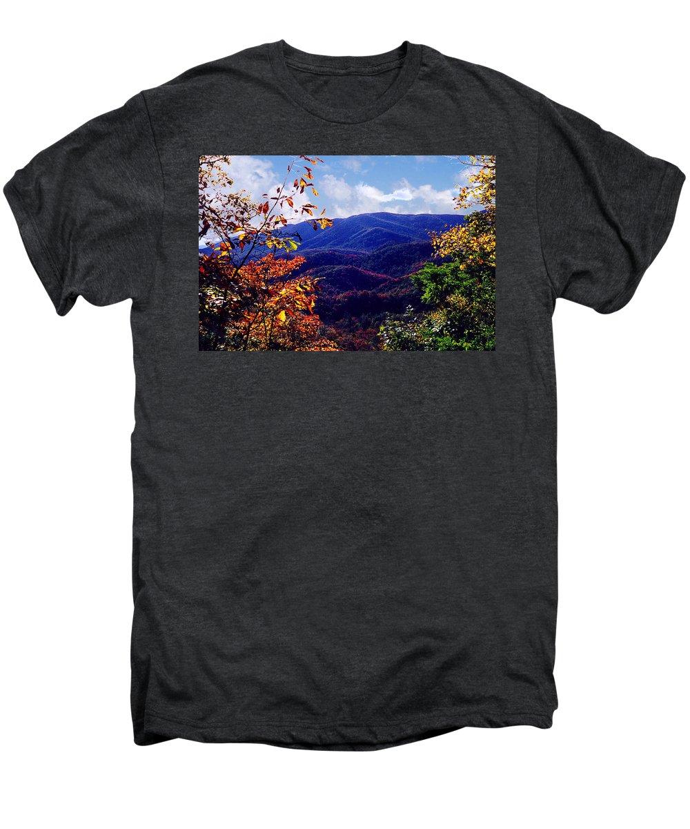 Mountain Men's Premium T-Shirt featuring the photograph Smoky Mountain Autumn View by Nancy Mueller