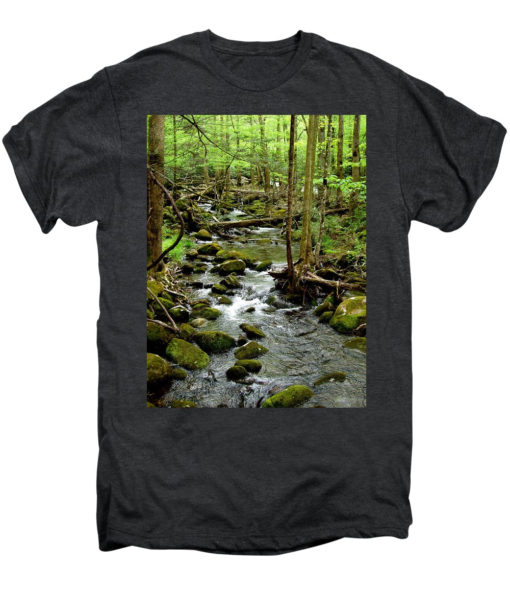 River Men's Premium T-Shirt featuring the photograph Smoky Mountain Stream 2 by Nancy Mueller