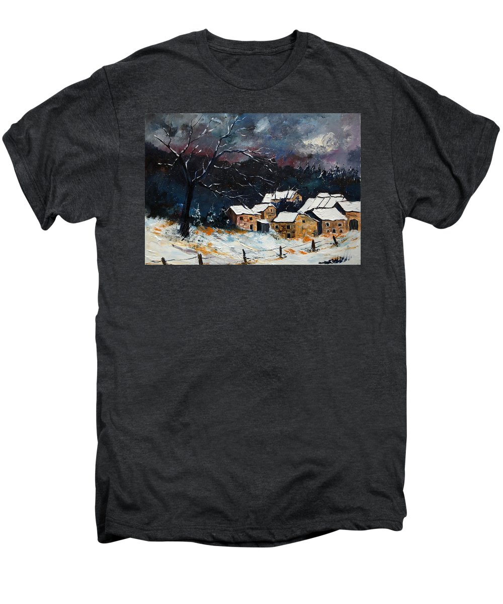 Snow Men's Premium T-Shirt featuring the painting Snow 57 by Pol Ledent