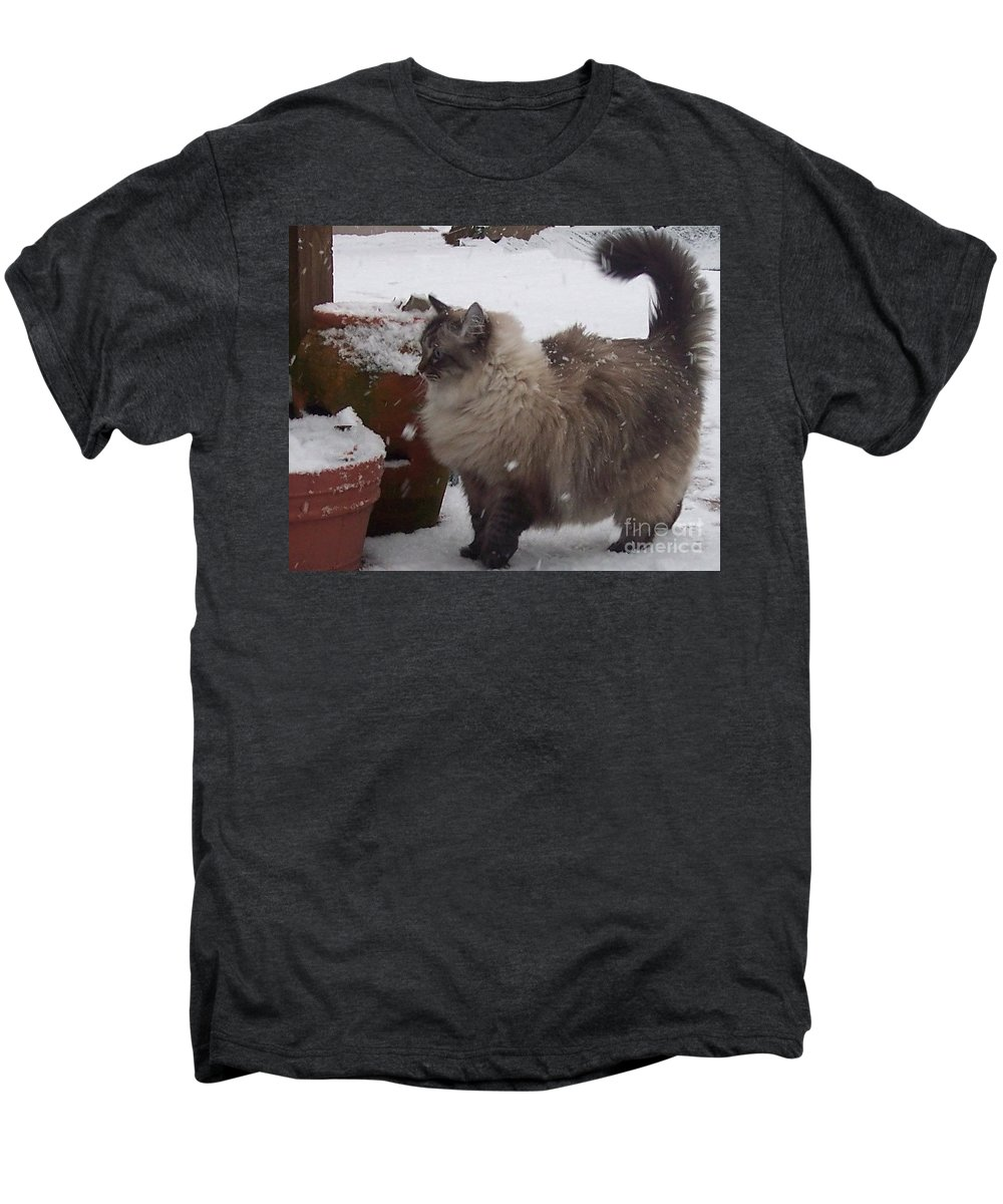 Cats Men's Premium T-Shirt featuring the photograph Snow Kitty by Debbi Granruth