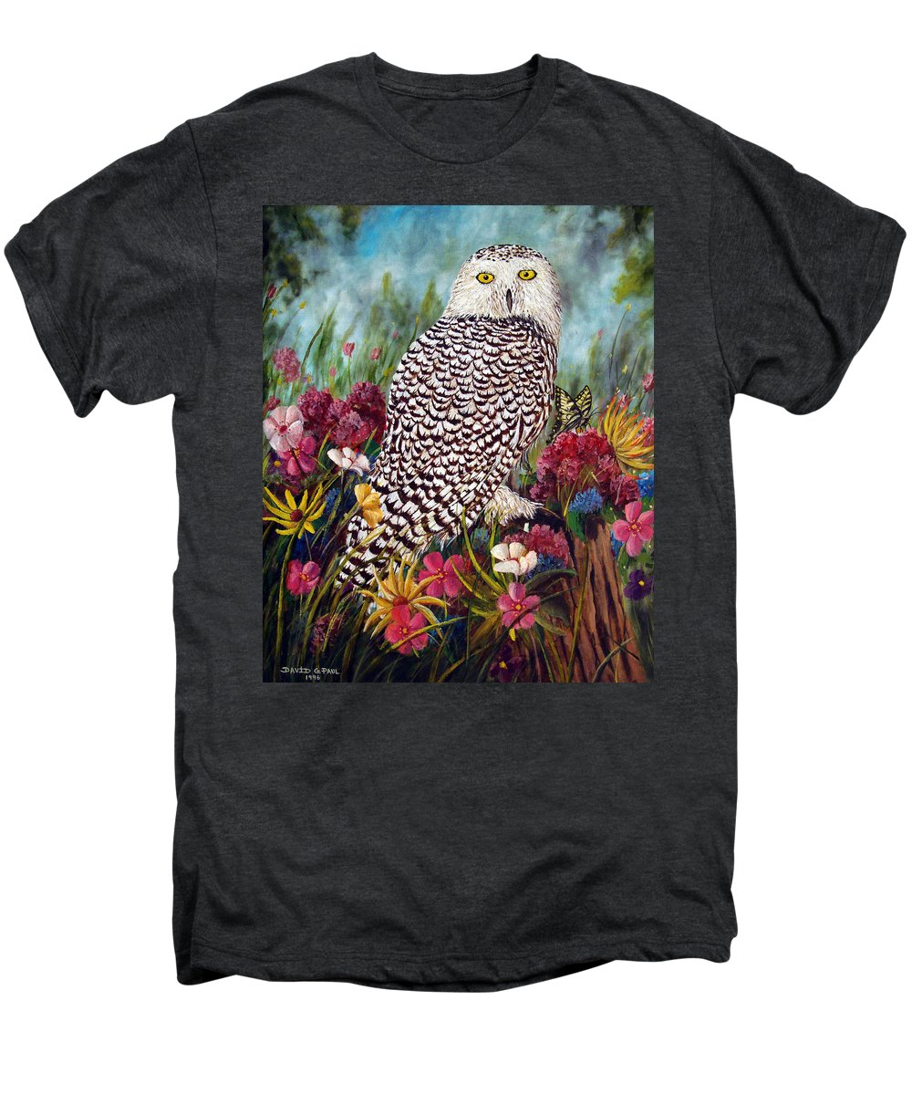 Owl Men's Premium T-Shirt featuring the painting Snowy Owl by David G Paul