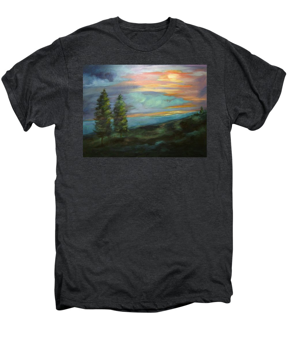 Landscape Men's Premium T-Shirt featuring the painting Soledad by Ginger Concepcion