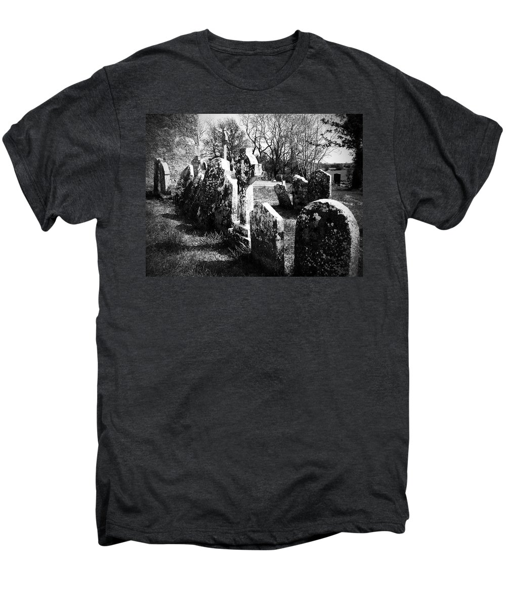 Ireland Men's Premium T-Shirt featuring the photograph Solitary Cross At Fuerty Cemetery Roscommon Irenand by Teresa Mucha