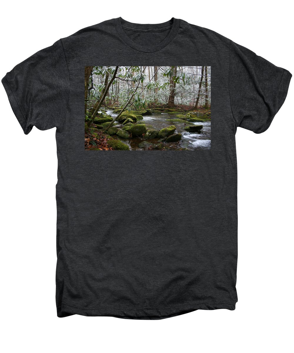 River Stream Creek Water Nature Rock Rocks Tree Trees Winter Snow Peaceful White Green Flowing Flow Men's Premium T-Shirt featuring the photograph Soothing by Andrei Shliakhau
