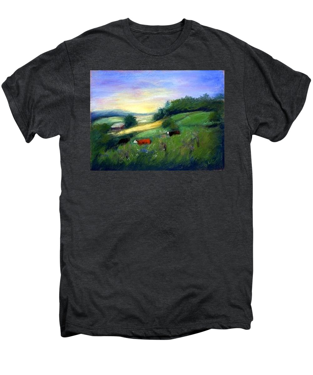 Landscape Men's Premium T-Shirt featuring the painting Southern Ohio Farm by Gail Kirtz