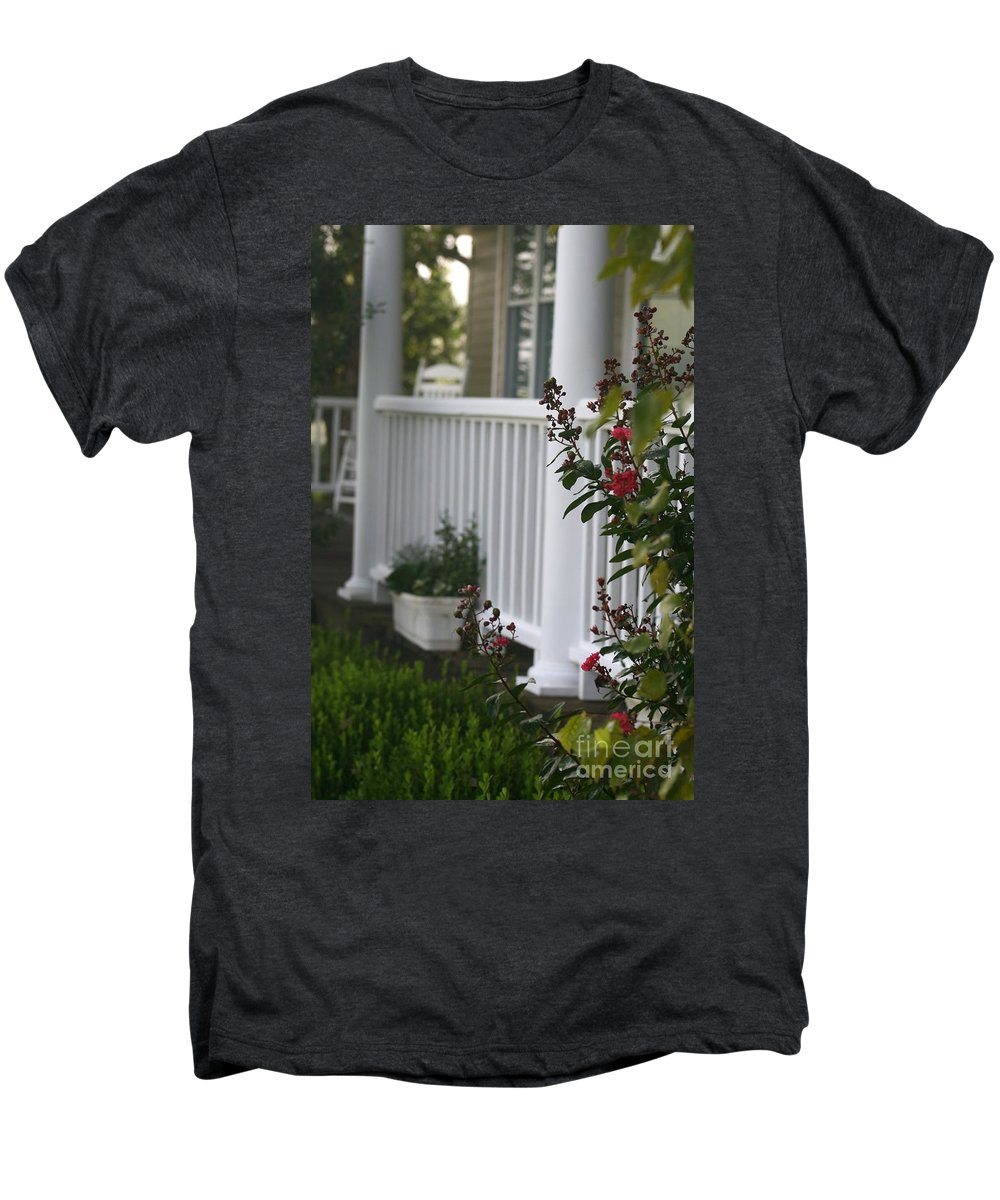 Summer Men's Premium T-Shirt featuring the photograph Southern Summer Flowers And Porch by Nadine Rippelmeyer