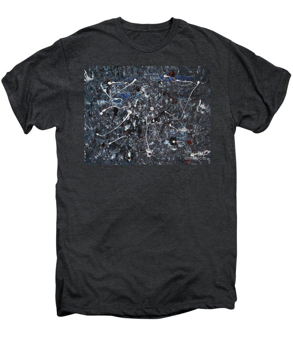 Splatter Men's Premium T-Shirt featuring the painting Splattered - Grey by Jacqueline Athmann