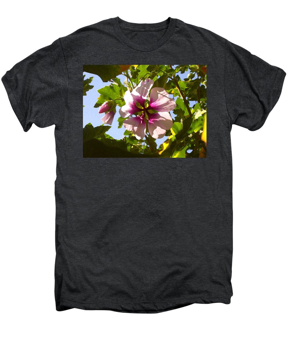 Flower Men's Premium T-Shirt featuring the painting Spring Flower Peeking Out by Amy Vangsgard