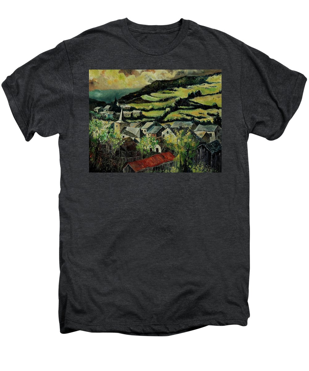 Spring Men's Premium T-Shirt featuring the painting Spring In Vresse Ardennes Belgium by Pol Ledent