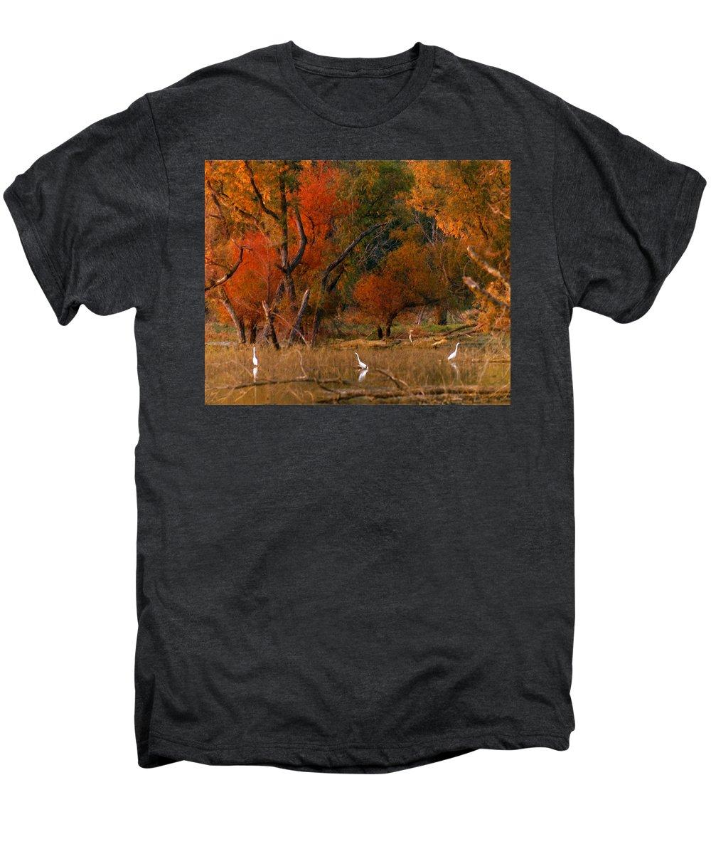 Landscape Men's Premium T-Shirt featuring the photograph Squaw Creek Egrets by Steve Karol