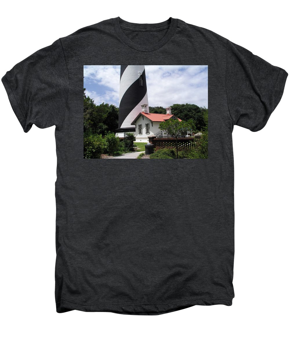 Cottage; Residence; Lighthouse; Light; House; Keeper; St. Augustine; Florida; Coast; Shine; Fog; Sto Men's Premium T-Shirt featuring the photograph St. Augustine Light On The East Coast Of Florida by Allan Hughes