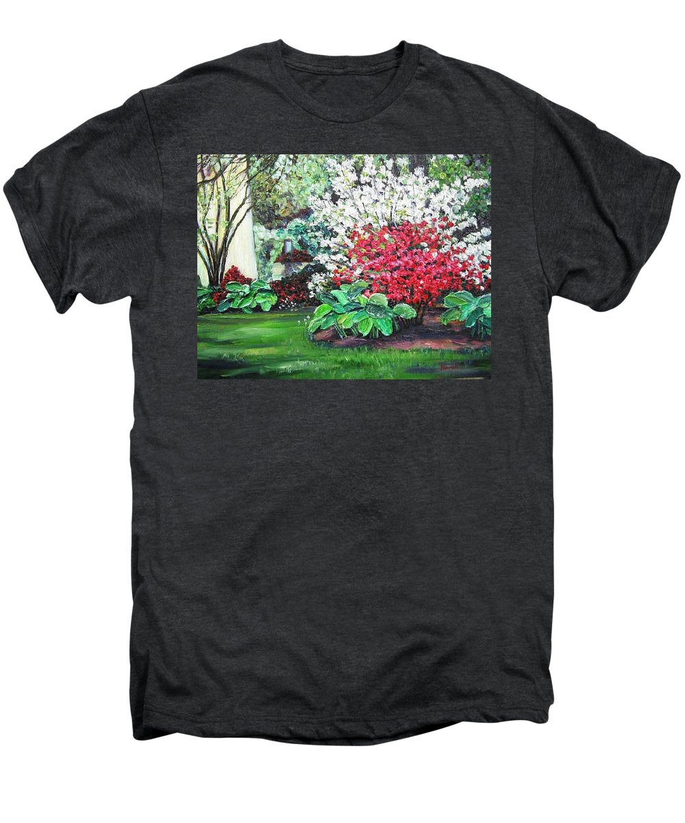Blossoms Men's Premium T-Shirt featuring the painting Stanely Park Blossoms by Richard Nowak