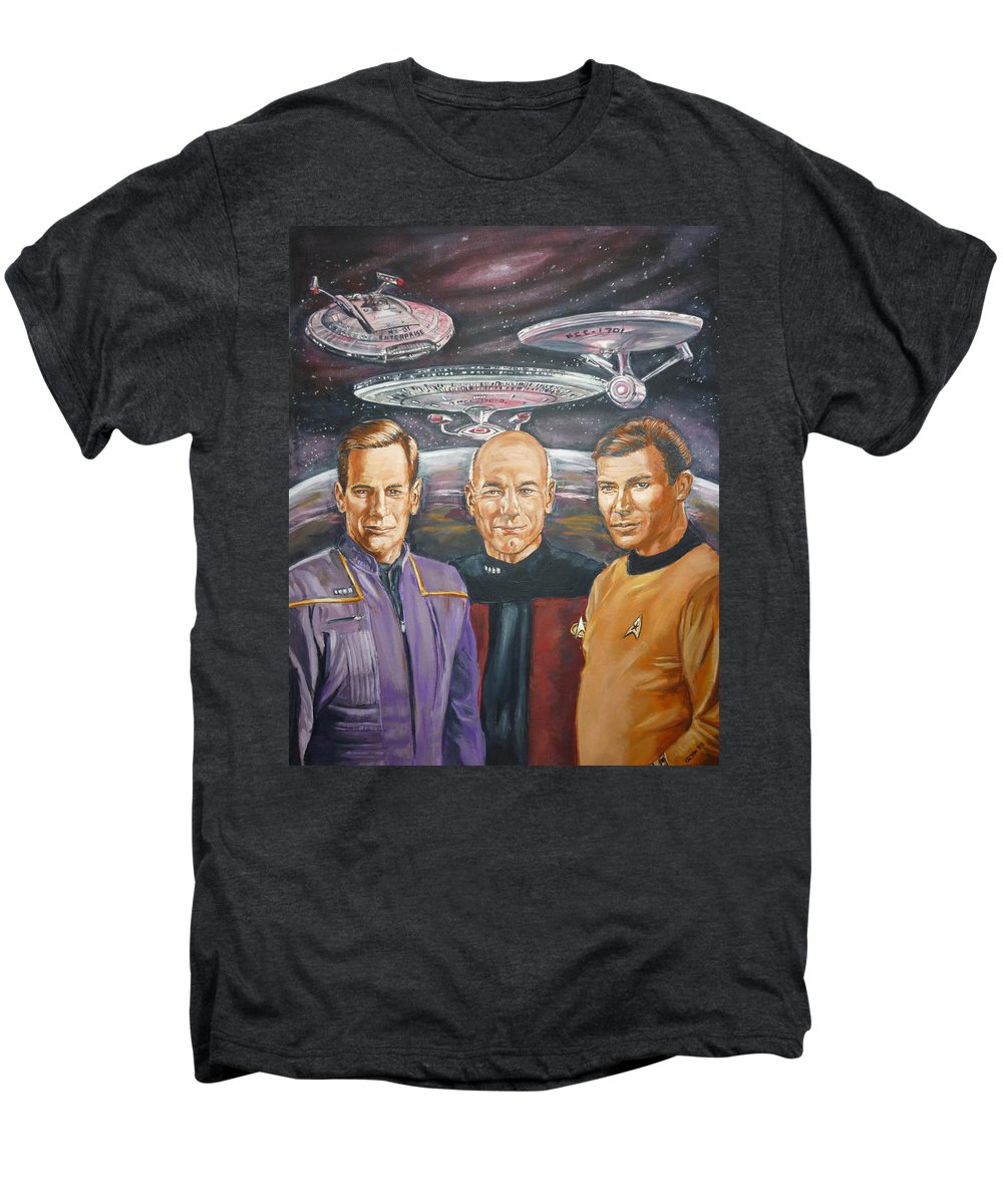 Star Trek Men's Premium T-Shirt featuring the painting Star Trek Tribute Enterprise Captains by Bryan Bustard