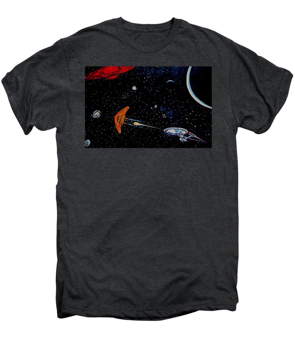 Startrel.scoemce Foxopm.s[ace.[;amets.stars Men's Premium T-Shirt featuring the painting Startrek by Stan Hamilton