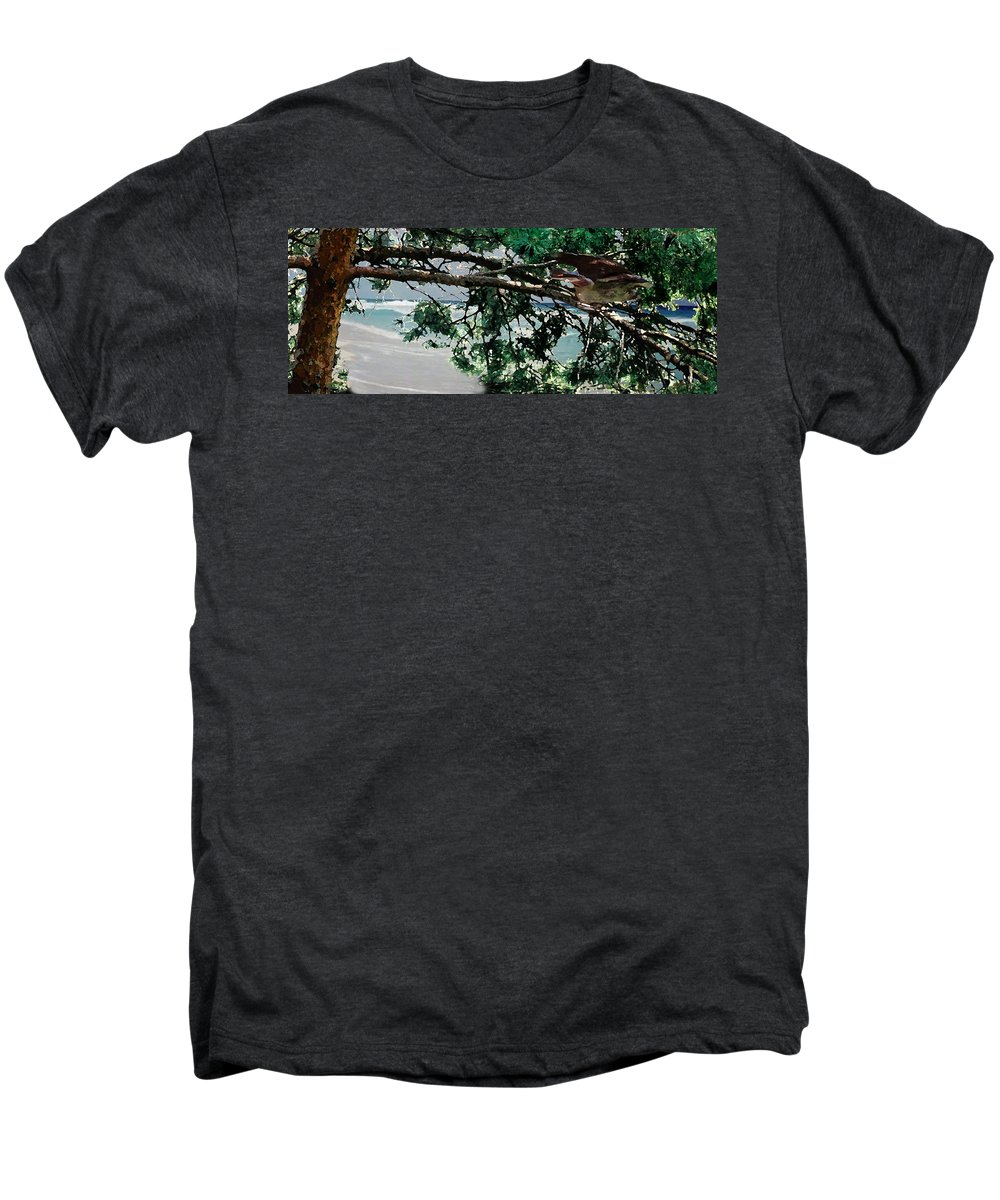 Landscape Men's Premium T-Shirt featuring the painting Stealth by Steve Karol