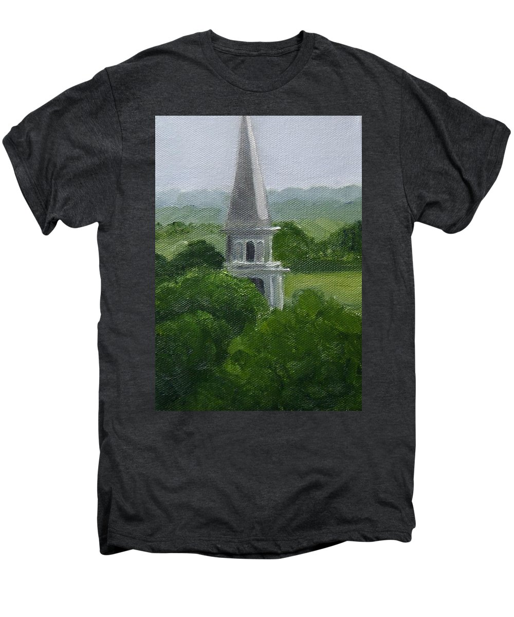 Steeple Men's Premium T-Shirt featuring the painting Steeple by Toni Berry