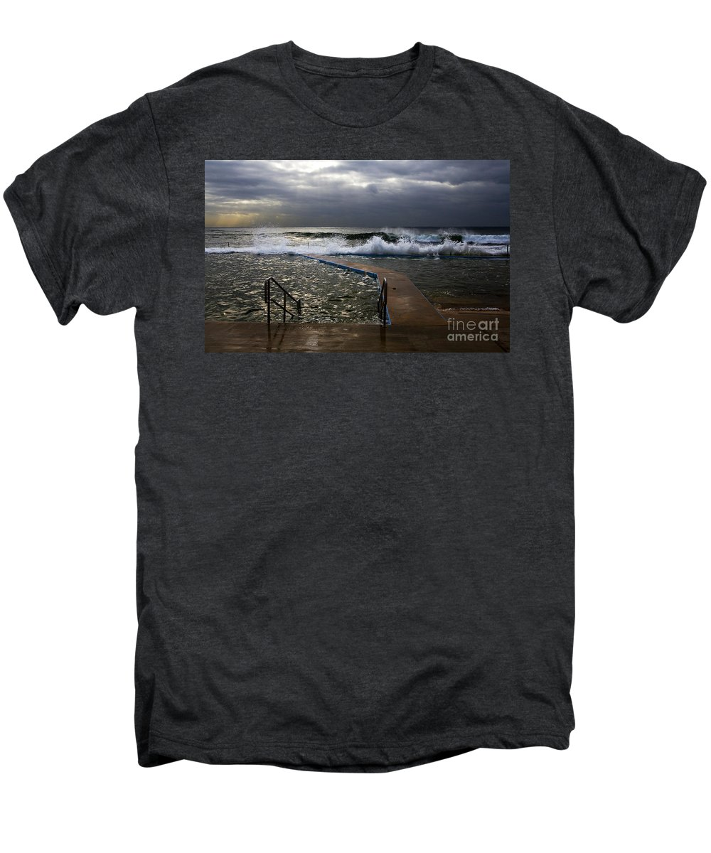 Storm Clouds Collaroy Beach Australia Men's Premium T-Shirt featuring the photograph Stormy Morning At Collaroy by Sheila Smart Fine Art Photography