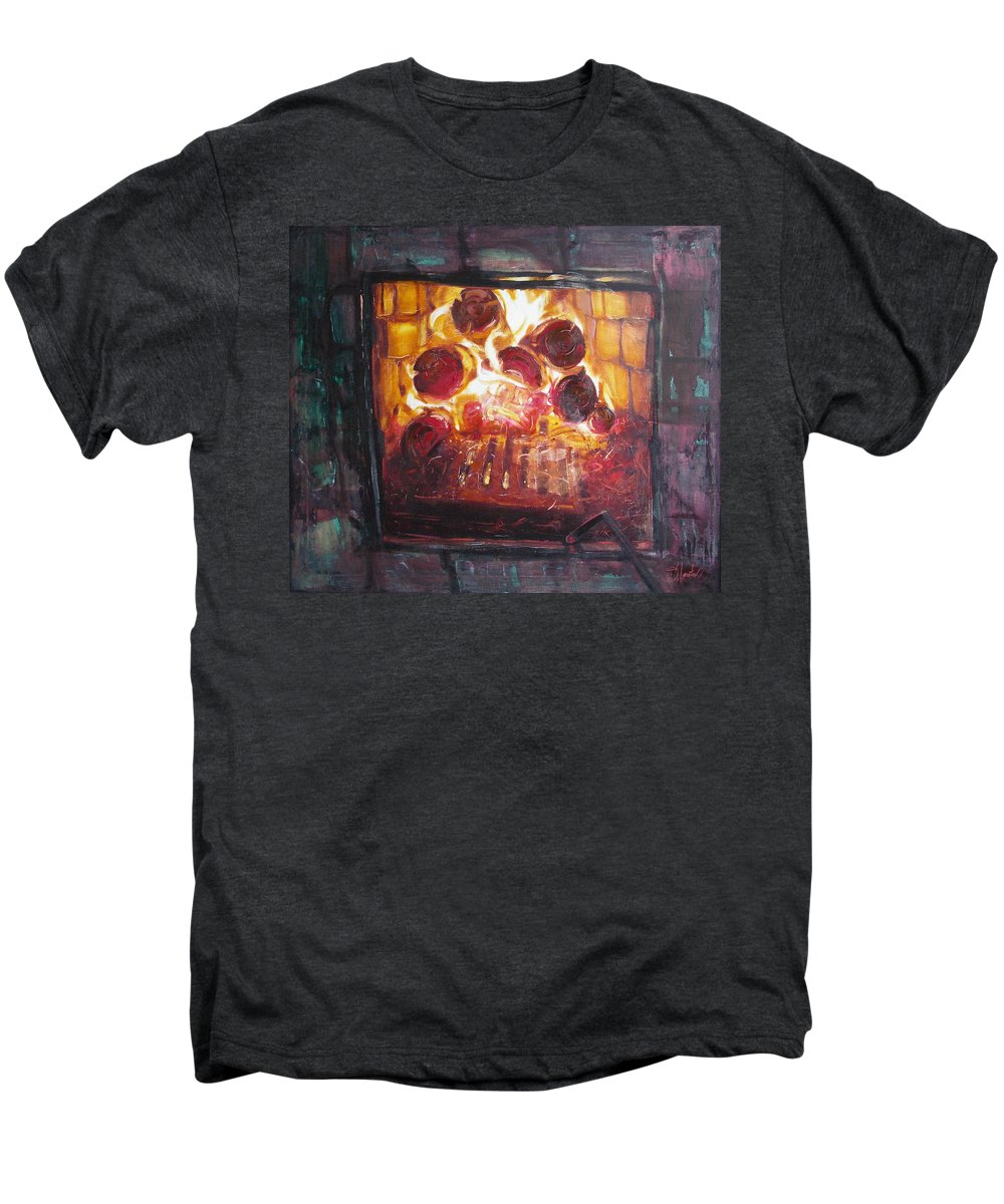 Oil Men's Premium T-Shirt featuring the painting Stove by Sergey Ignatenko