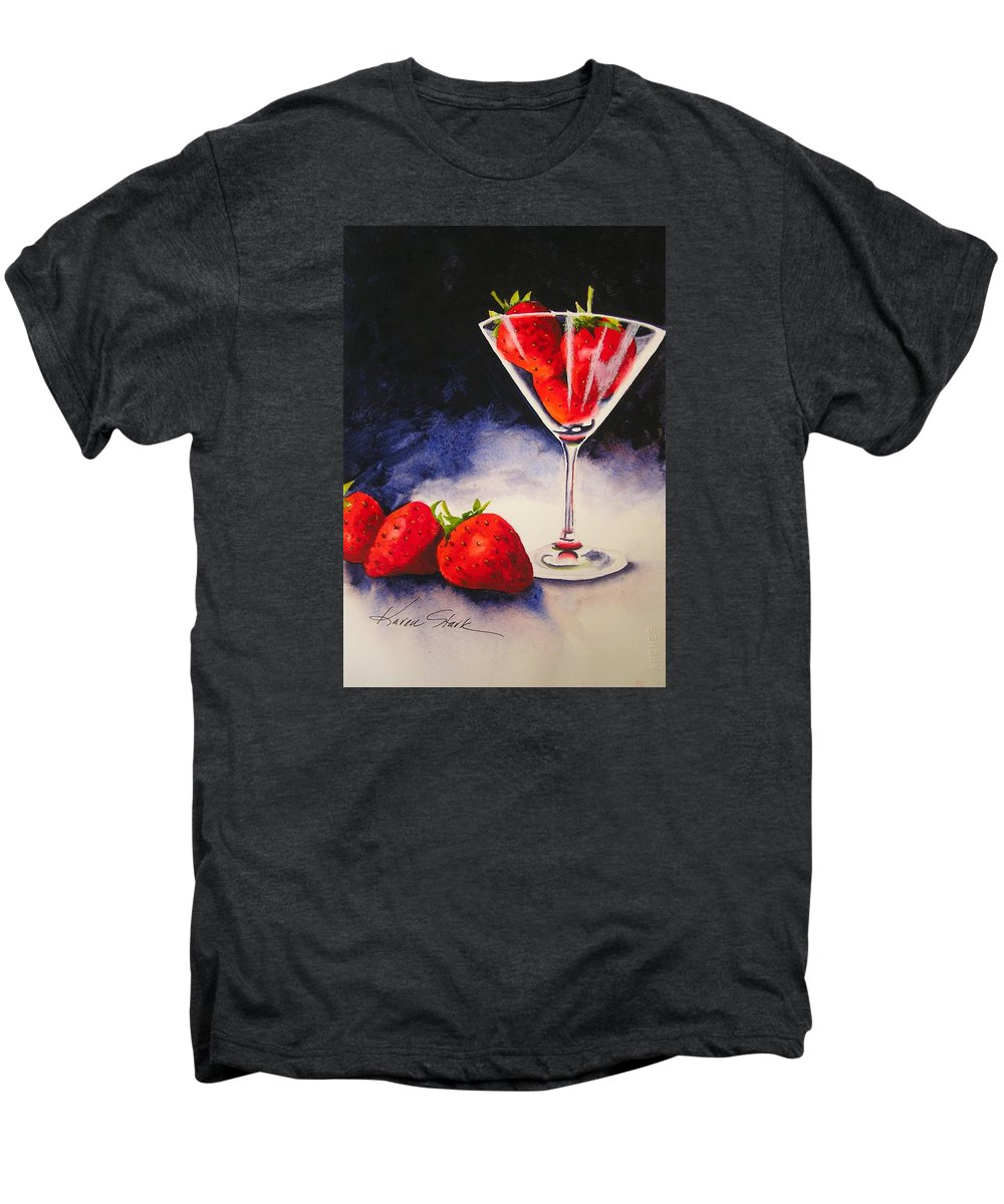 Strawberry Men's Premium T-Shirt featuring the painting Strawberrytini by Karen Stark