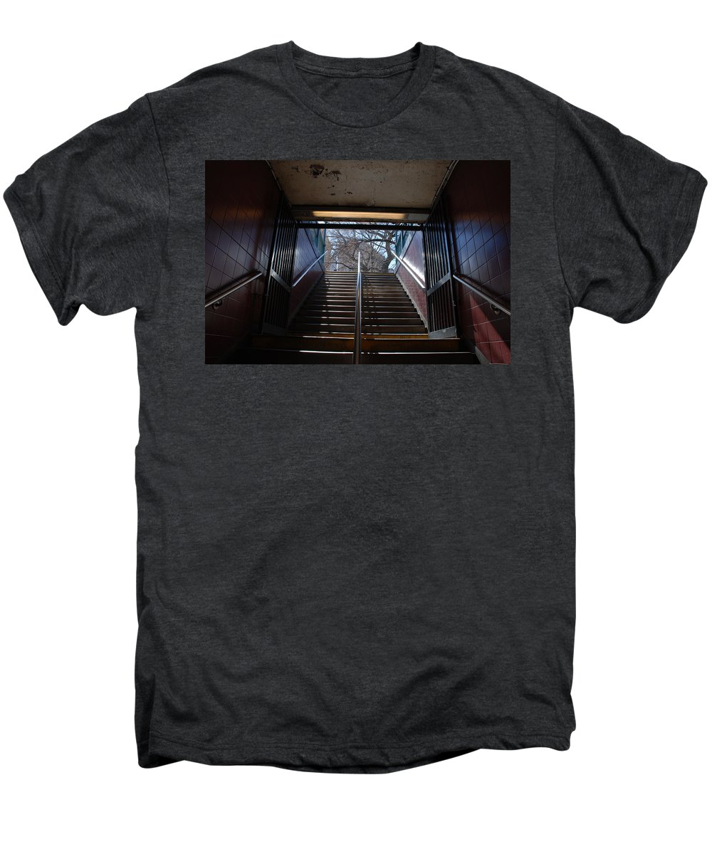 Pop Art Men's Premium T-Shirt featuring the photograph Subway Stairs To Freedom by Rob Hans