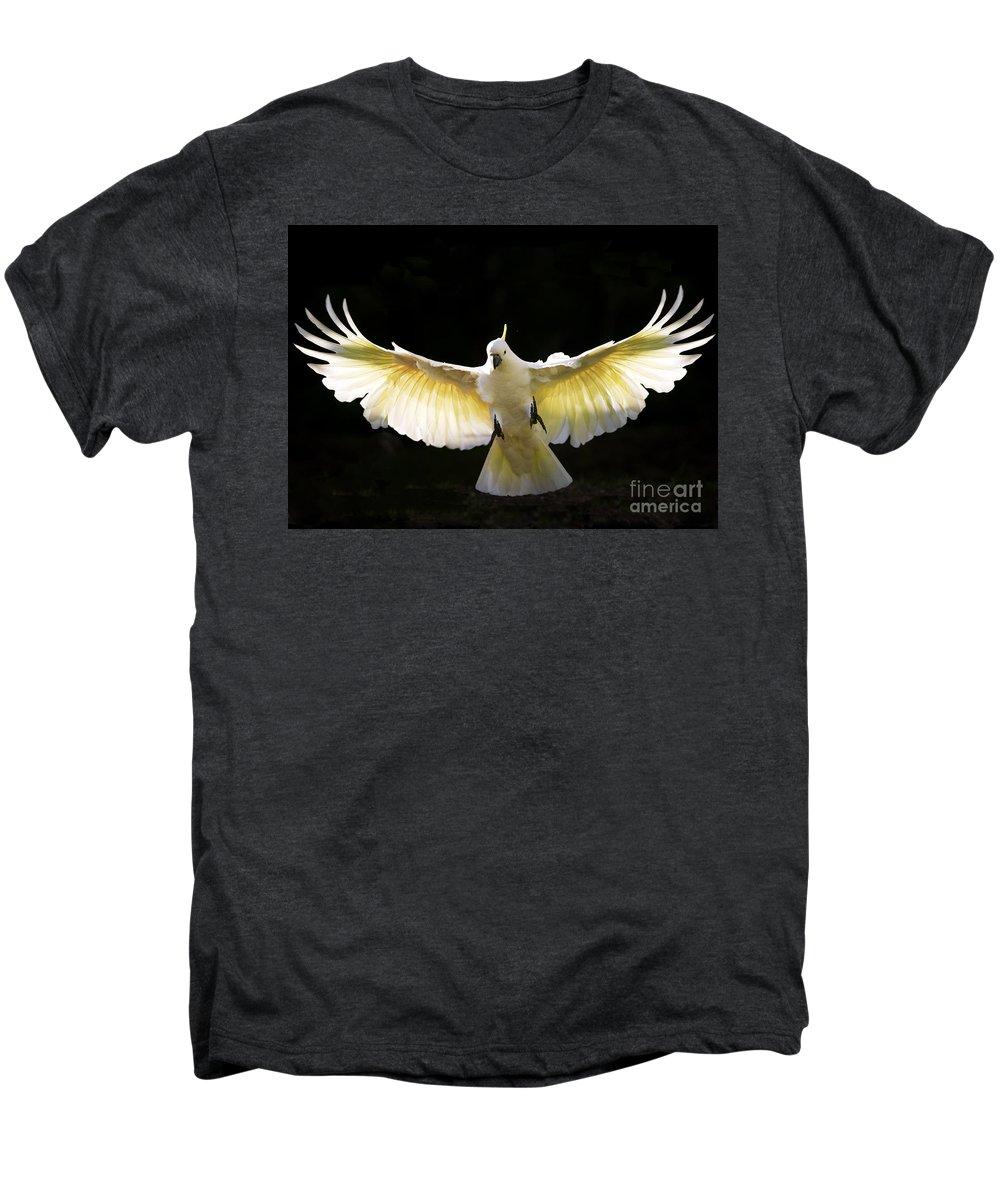 Sulphur Crested Cockatoo Australian Wildlife Men's Premium T-Shirt featuring the photograph Sulphur Crested Cockatoo In Flight by Sheila Smart Fine Art Photography