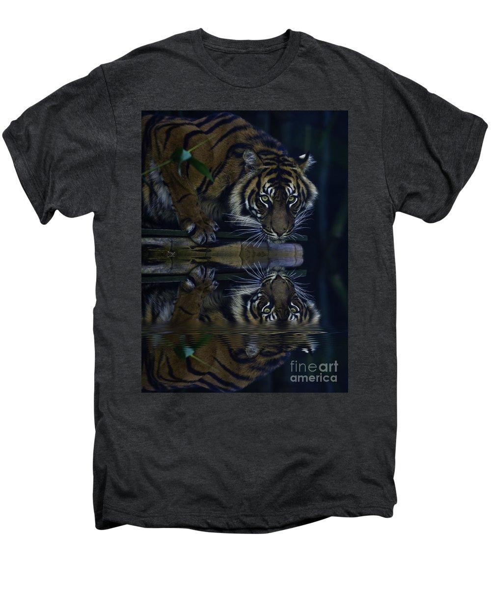 Sumatran Tiger Men's Premium T-Shirt featuring the photograph Sumatran Tiger Reflection by Sheila Smart Fine Art Photography