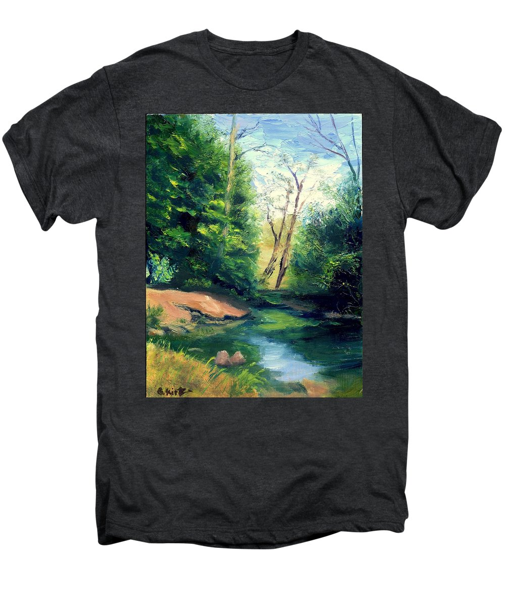 Landscape Men's Premium T-Shirt featuring the painting Summer At Storm by Gail Kirtz