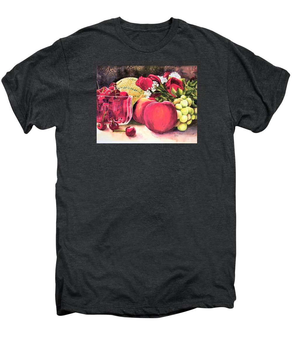 Cherries Men's Premium T-Shirt featuring the painting Summer Bounty by Karen Stark