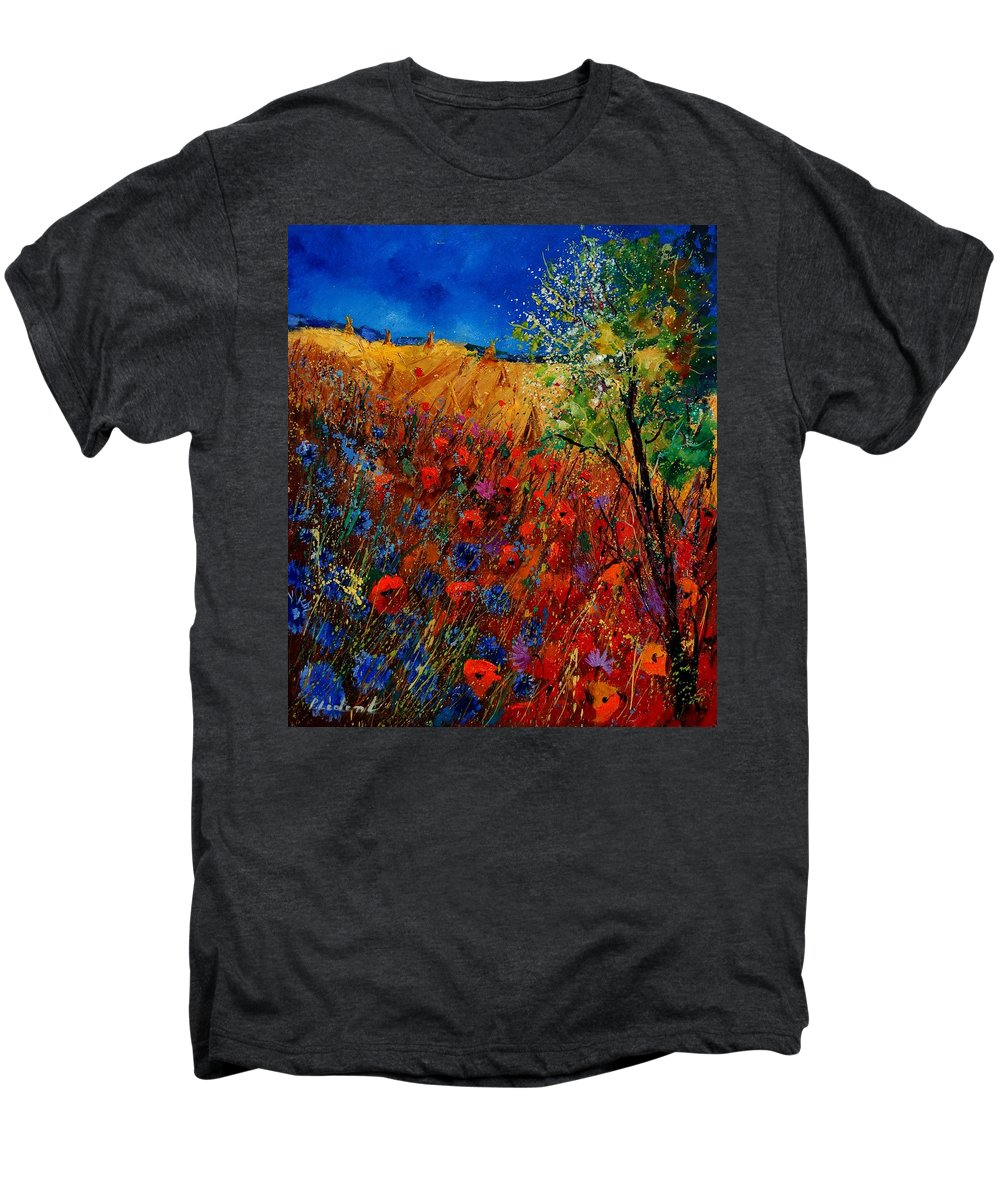 Flowers Men's Premium T-Shirt featuring the painting Summer Landscape With Poppies by Pol Ledent