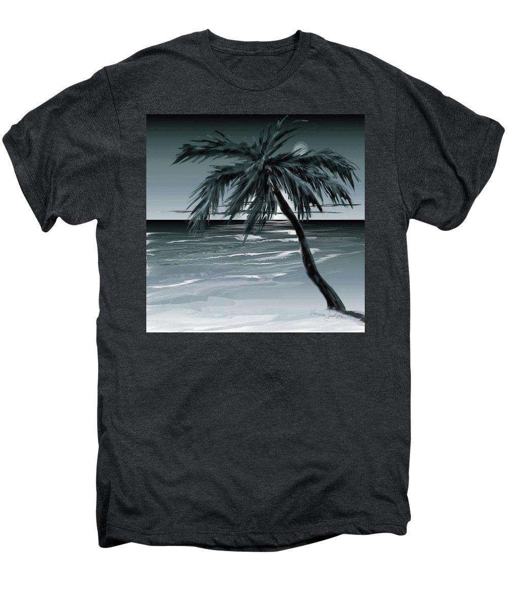 Water Beach Sea Ocean Palm Tree Summer Breeze Moonlight Sky Night Men's Premium T-Shirt featuring the digital art Summer Night In Florida by Veronica Jackson